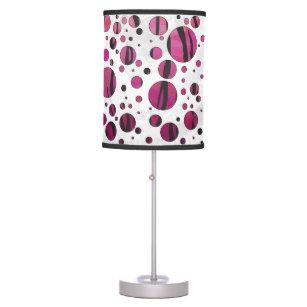 Polka Dot Tiger Hot Pink And Black Print Desk Lamp