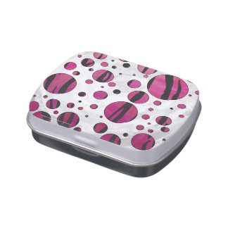 Polka Dot Tiger Hot Pink and Black Print Jelly Belly Tins