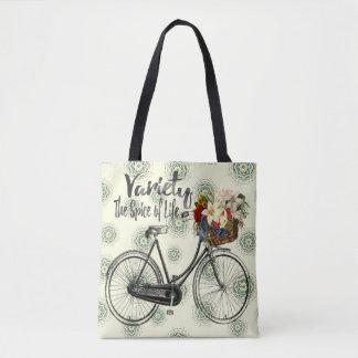 Polka dot tote bag Variety the spice of life bike