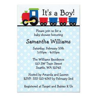 Polka Dot Train Boy Baby Shower Card