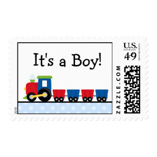 Polka Dot Train It s a Boy Stamp