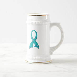 Polka Dot Tri-Color Ribbon Thyroid Cancer 18 Oz Beer Stein