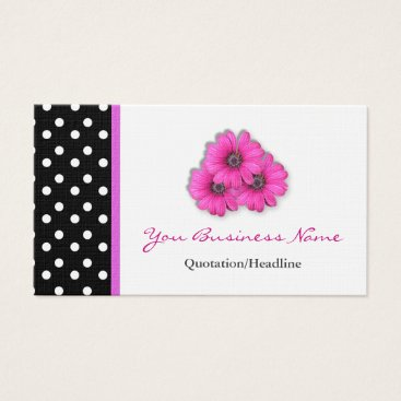 Professional Business Polka Dot  Trimmed Flower Business Cards