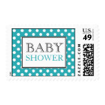Polka Dot Turquoise Baby Shower Postage Stamps