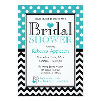 Polka Dot Turquoise & Chevron Bridal Shower Card