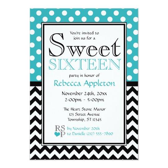 Polka Dot Turquoise & Chevron Sweet Sixteen Card