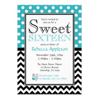 Polka Dot Turquoise & Chevron Sweet Sixteen Personalized Invitations