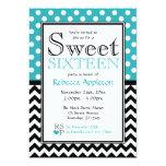 Polka Dot Turquoise & Chevron Sweet Sixteen 5x7 Paper Invitation Card