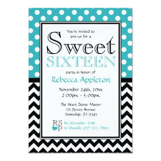 Polka Dot Turquoise & Chevron Sweet Sixteen Personalized Invitations
