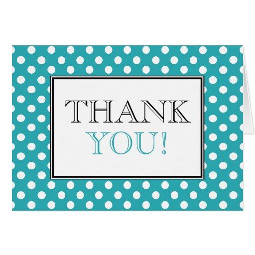 Polka Dot Turquoise & White Thank You Card