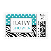 Polka Dot Turquoise & Zebra Print Baby Shower Postage