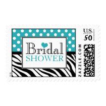 Polka Dot Turquoise Zebra Print Bridal Shower Postage