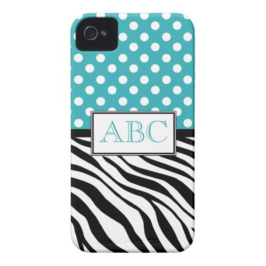 Polka Dot Turquoise & Zebra Print iPhone 4/4S Case