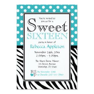 Polka Dot Turquoise & Zebra Print Sweet Sixteen Card