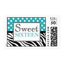 Polka Dot Turquoise & Zebra Print Sweet Sixteen Postage