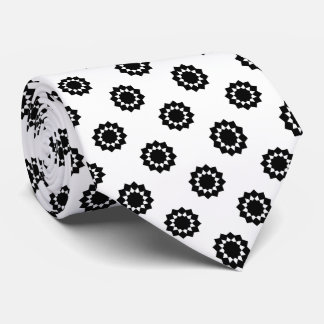 Polka Dot Twelve Point Star Black on White Neck Tie