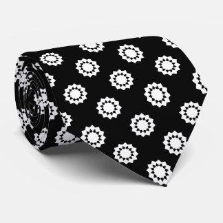 Polka Dot Twelve Point Star White on Black Tie