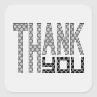 Polka Dot Typography Square Thank You Stickers