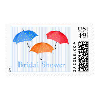 Polka dot umbrellas Bridal Shower Postage
