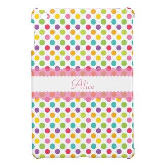 Polka Dot w/Pink Embellishment and Monogram Cover For The iPad Mini