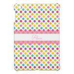 Polka Dot w/Pink Embellishment and Monogram iPad Mini Case
