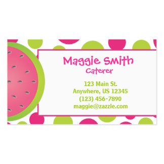 Polka Dot Watermelon Business Calling Card Double-Sided Standard Business Cards (Pack Of 100)