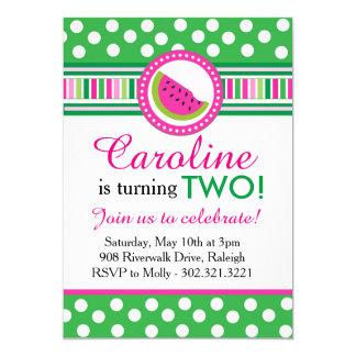 Polka Dot Watermelon Party Invitation (Pink/Green)