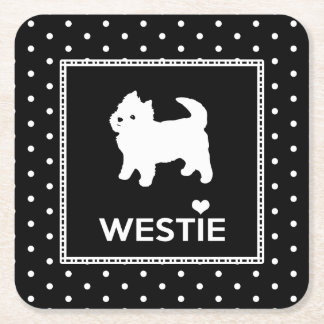 Polka Dot Westie Dogs - West Highland Terriers Square Paper Coaster