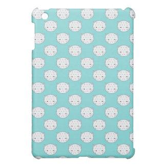 Polka Dot White Kitty Face over Teal iPad Mini Case