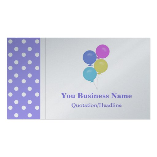 Polka dot with balloons business card zazzle for Polka dot business card templates free