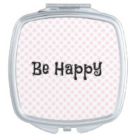 Polka Dot with Happy Quote Travel Mirror