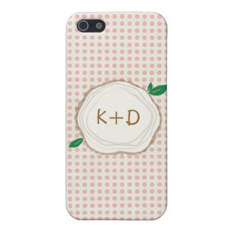 Polka Dot Wood Slice Initials IPhone Case Cover For iPhone 5