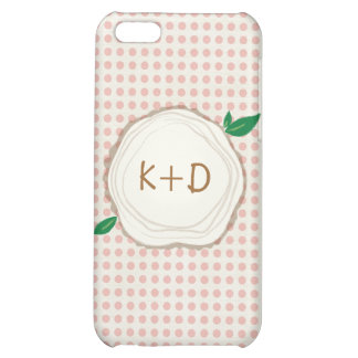 Polka Dot Wood Slice Initials IPhone Case iPhone 5C Cover