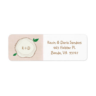 Polka Dot Wood Slice Initials Return Address Label