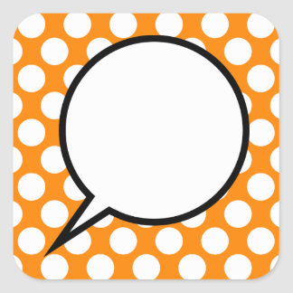 Polka Dot Word Balloon Custom Text Square Sticker