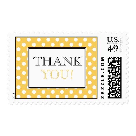 Polka Dot Yellow Thank You Postage Stamps