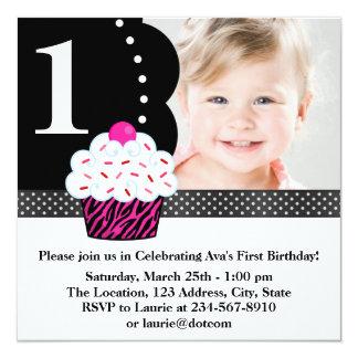 Polka Dot Zebra Cupcake Girls Photo 1st Birthday P 5.25x5.25 Square Paper Invitation Card