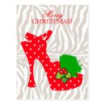 Polka Dot Zebra High Heel Shoe Xmas Red Postcard