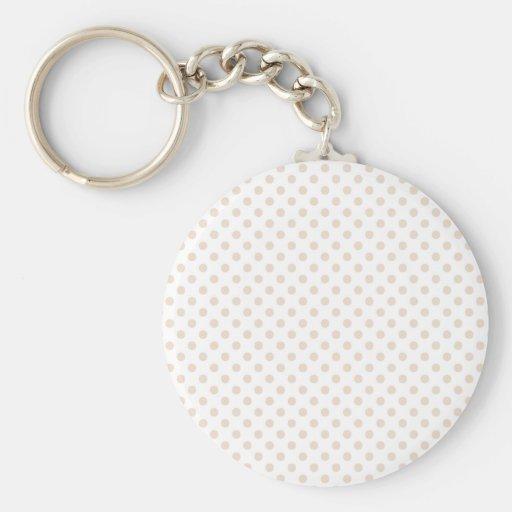 Polka Dots - Almond on White Key Chains