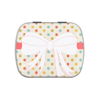 Polka-dots and Bow Favor Jelly Belly Candy Tin