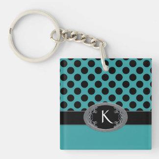 Polka Dots and Buckle Turquoise Keychain