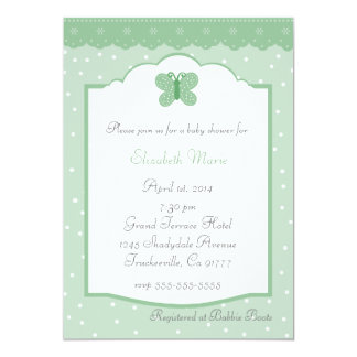 Polka Dots and Butterfly-Jade Baby Shower Card