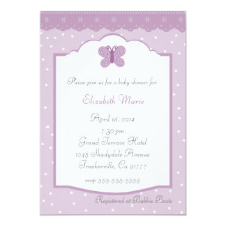 Polka Dots and Butterfly Lavender Baby Shower 5x7 Paper Invitation Card