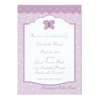 Polka Dots and Butterfly-LavenderBaby Shower 5x7 Paper Invitation Card (<em>$1.90</em>)