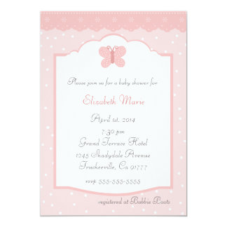 Polka Dots and Butterfly-Peach Baby Shower 5x7 Paper Invitation Card