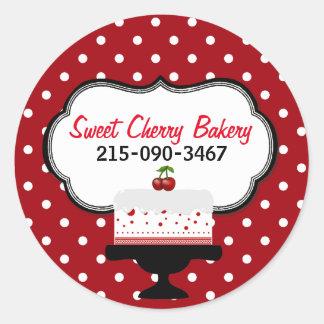 Polka Dots and Cherry Cake Bakery Sticker