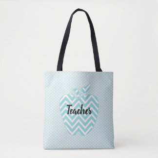 Polka Dots and Chevron Apple Teachers Tote Bag