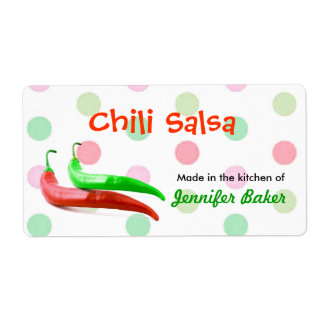 Polka Dots and Chili Peppers Food Labels