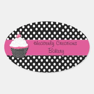 Polka Dots and Cupcake Bakery Box Stickers