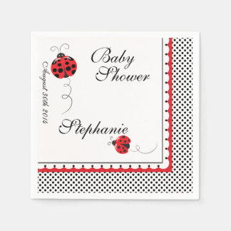 Polka Dots and Cute Ladybugs Paper Party Napkins Standard Cocktail Napkin